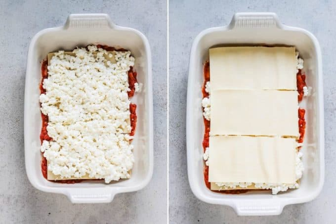 photo collage of cottage cheese and lasagna noodles in a casserole dish