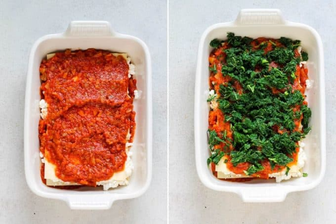 photo collage of kale lasagna being assembled in a casserole dish