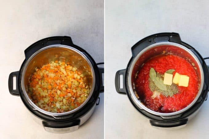 photo collage of pasta sauce being made in the instant pot