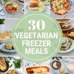 photo collage with text that reads vegetarian freezer meals