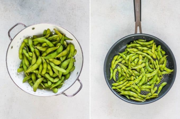 photo collage of spicy garlic edamame being made in a frying pan