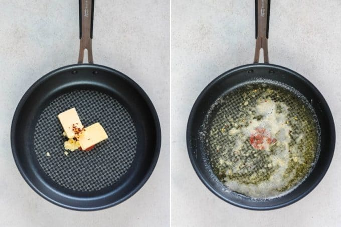 photo collage of spicy garlic butter being made in a frying pan