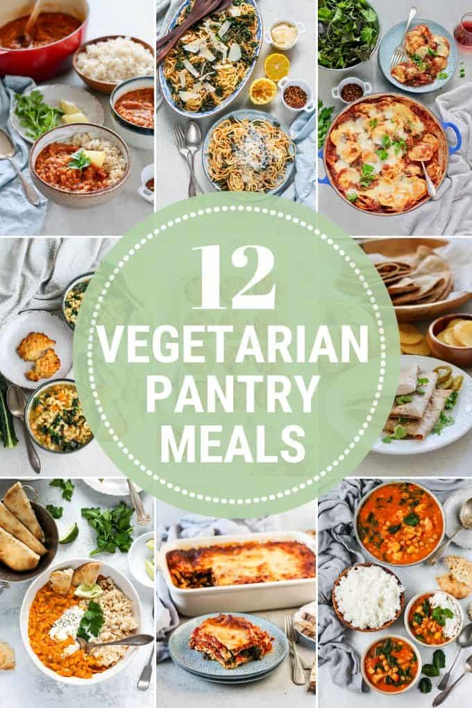 photo collage of vegetarian pantry meals
