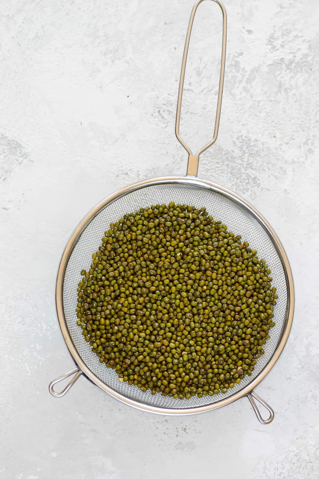 mung beans in a mesh strainer