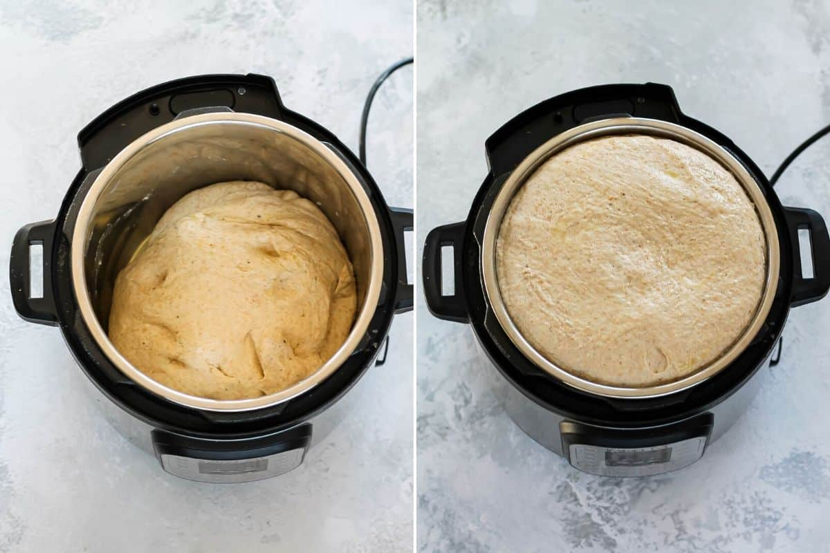 spelt pizza dough proofing in an instant pot