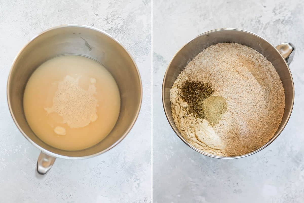 photo collage of pizza dough being made in a metal bowl