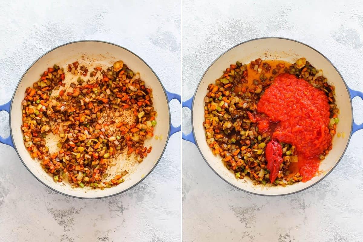 overhead photo of tomato sauce for vegan sloppy joes