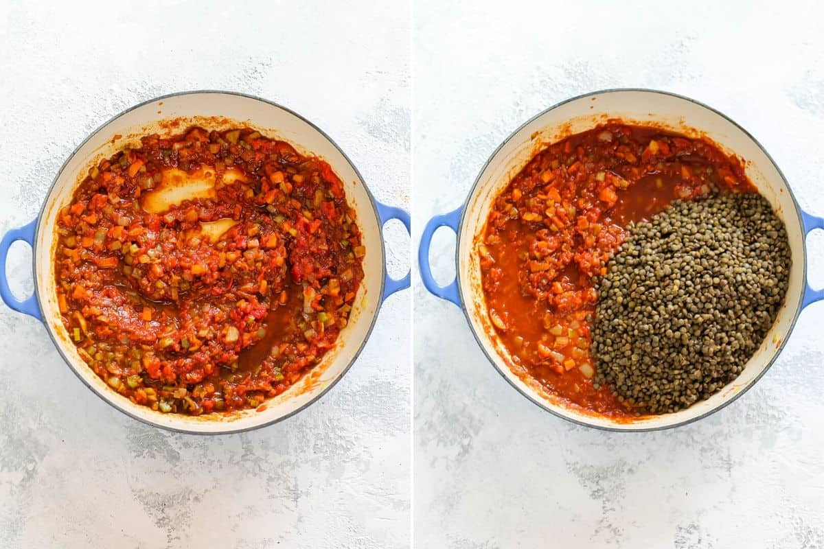 overhead photo of lentils being stirred into tomato sauce to make vegan sloppy joes