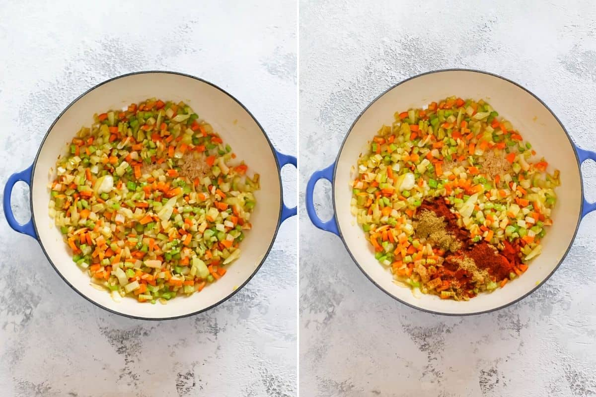 overhead photo of onions, celery, carrots, and garlic in a pan