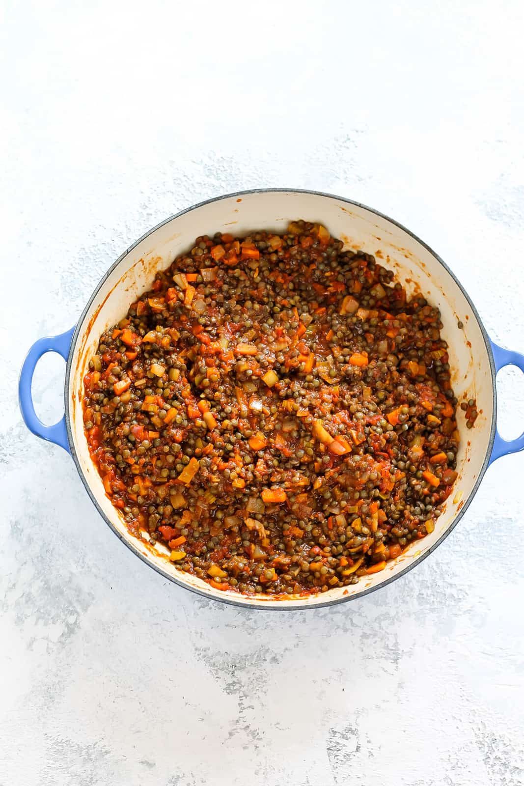 overhead photo of lentil sloppy joes mix in a casserole dish