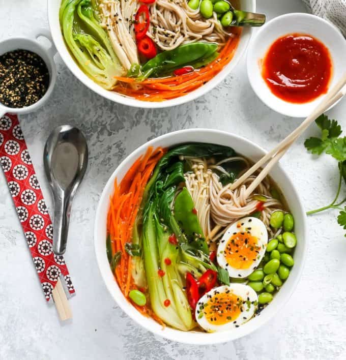vegetable ramen noodles in a white bowl
