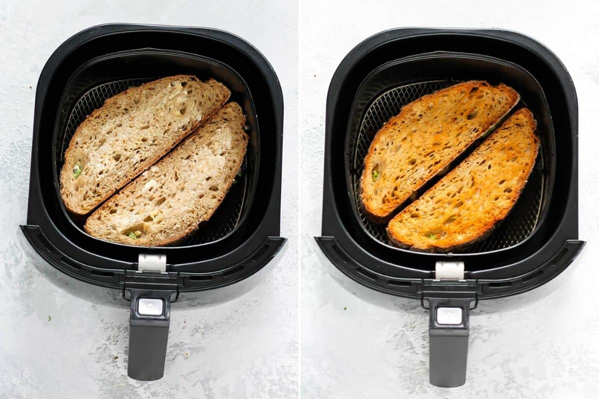 photo collage of an air fryer grilled cheese sandwich in the basket of an air fryer