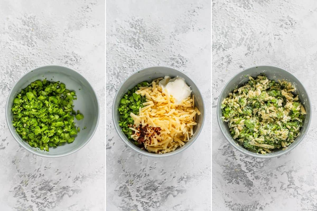 photo collage with broccoli, cheese, and yogurt being mixed in a small bowl