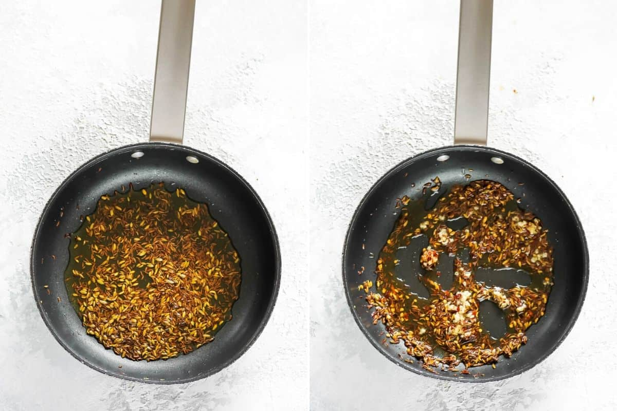 photo collage of spices and garlic simmering in oil