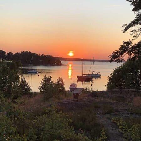Sun setting near Djurö, Sweden