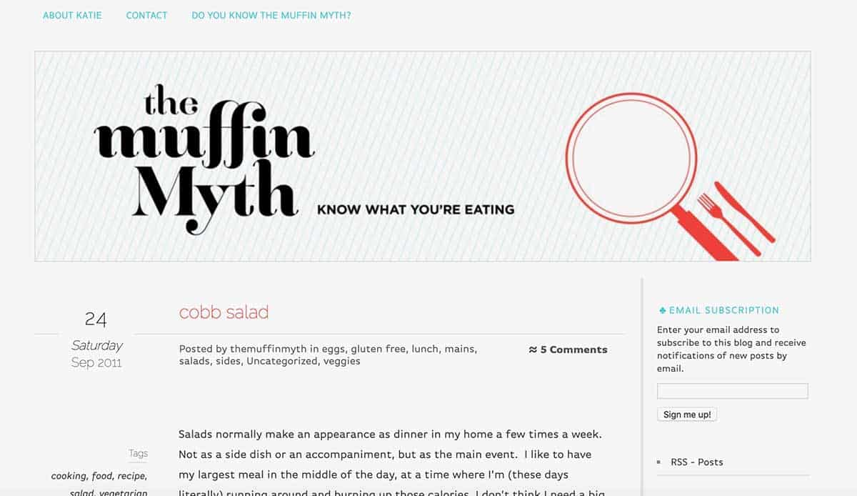 screen shot of a web page with a banner reading the muffin myth