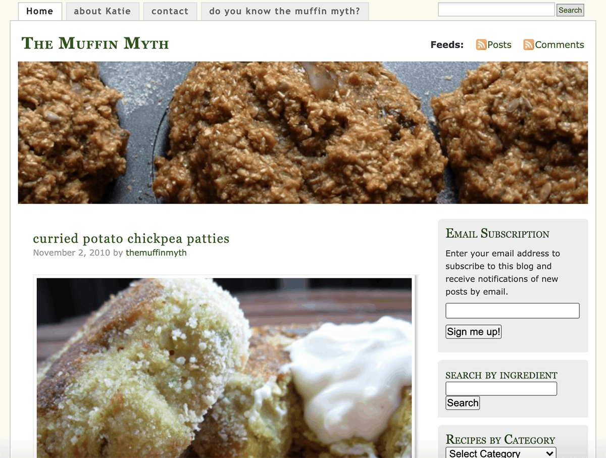 screen shot of a wordpress website with a close up of muffins in the banner