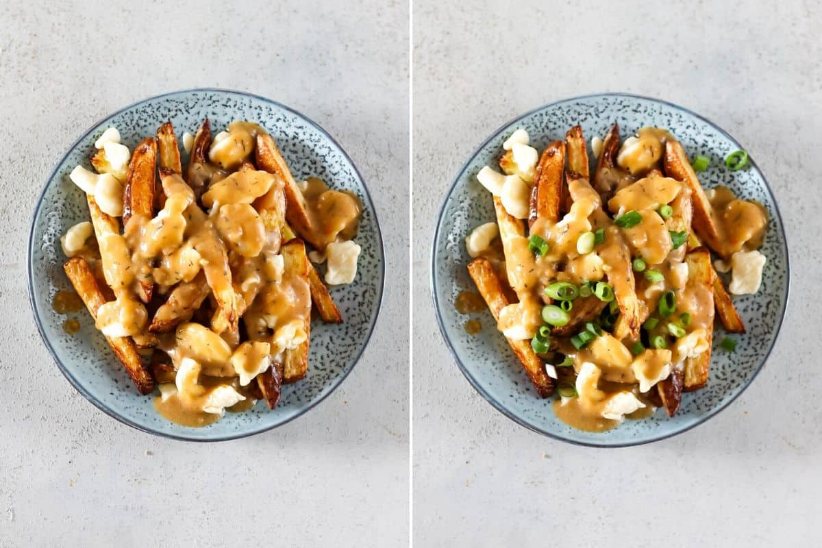 a photo collage of vegetarian poutine being topped with green onions
