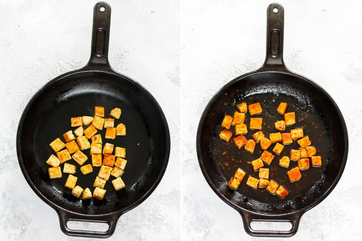 photo collage of tempeh being cooked in a cast-iron skillet