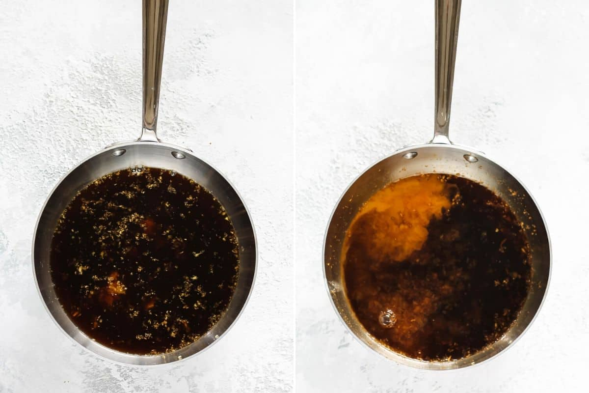 photo collage of vegan teriyaki sauce being made in a metal saucepan
