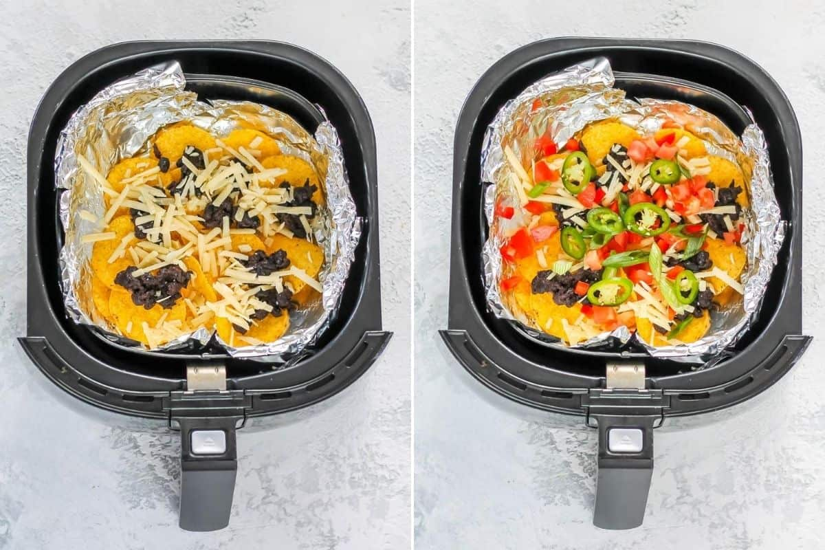 photo collage of nacho chips, beans, and cheese layered into an air fryer basket lined with foil