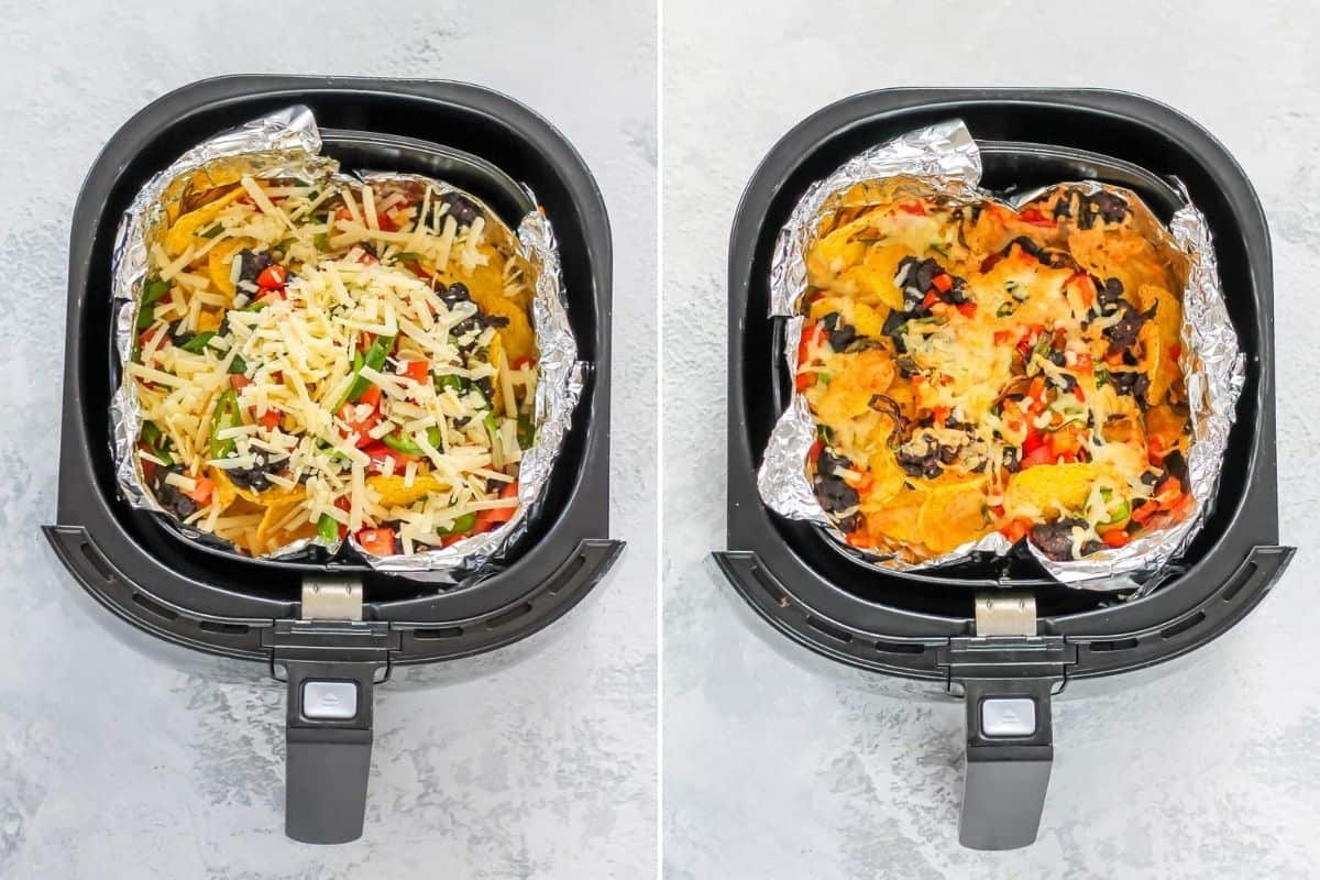 photo collage of baked and unbaked nachos in the basket of an air fryer