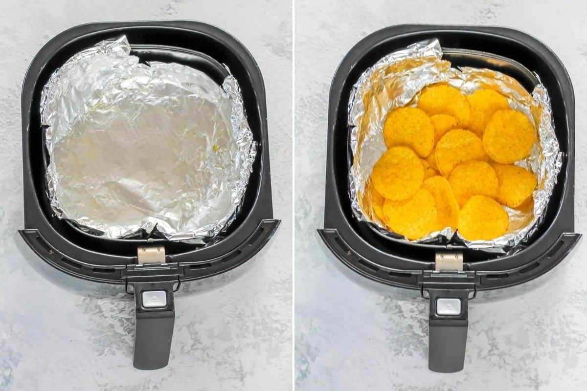 photo collage of an air fryer basket lined with tinfoil