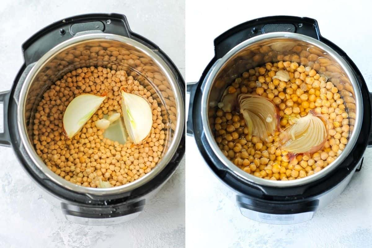 photo collage with cooked and uncooked chickpeas in an instant pot