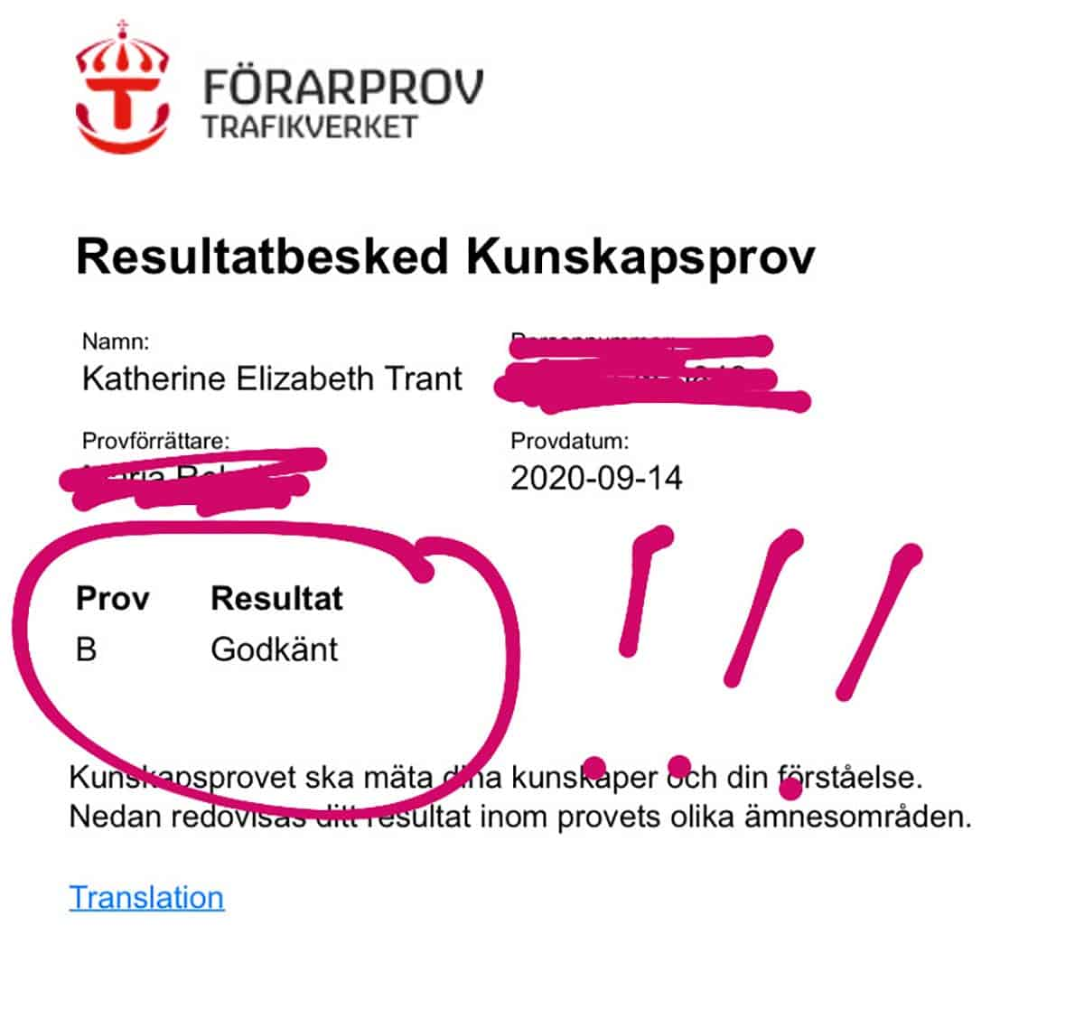 a screen shot of driving theory test results in swedish