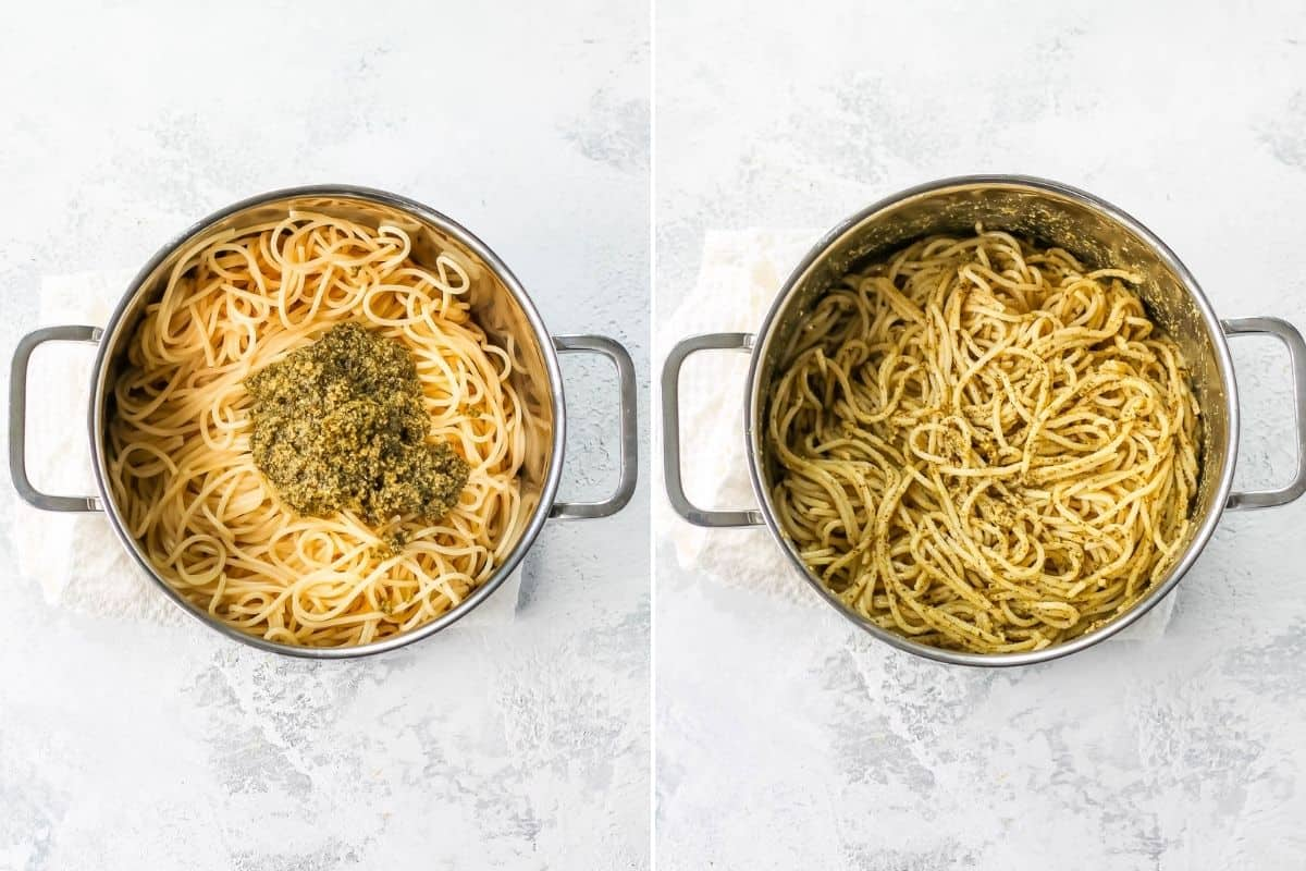 photo collage of spaghetti with pesto sauce in a metal pot