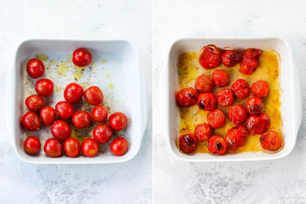 photo collage of roasted cherry tomatoes in a white baking dish