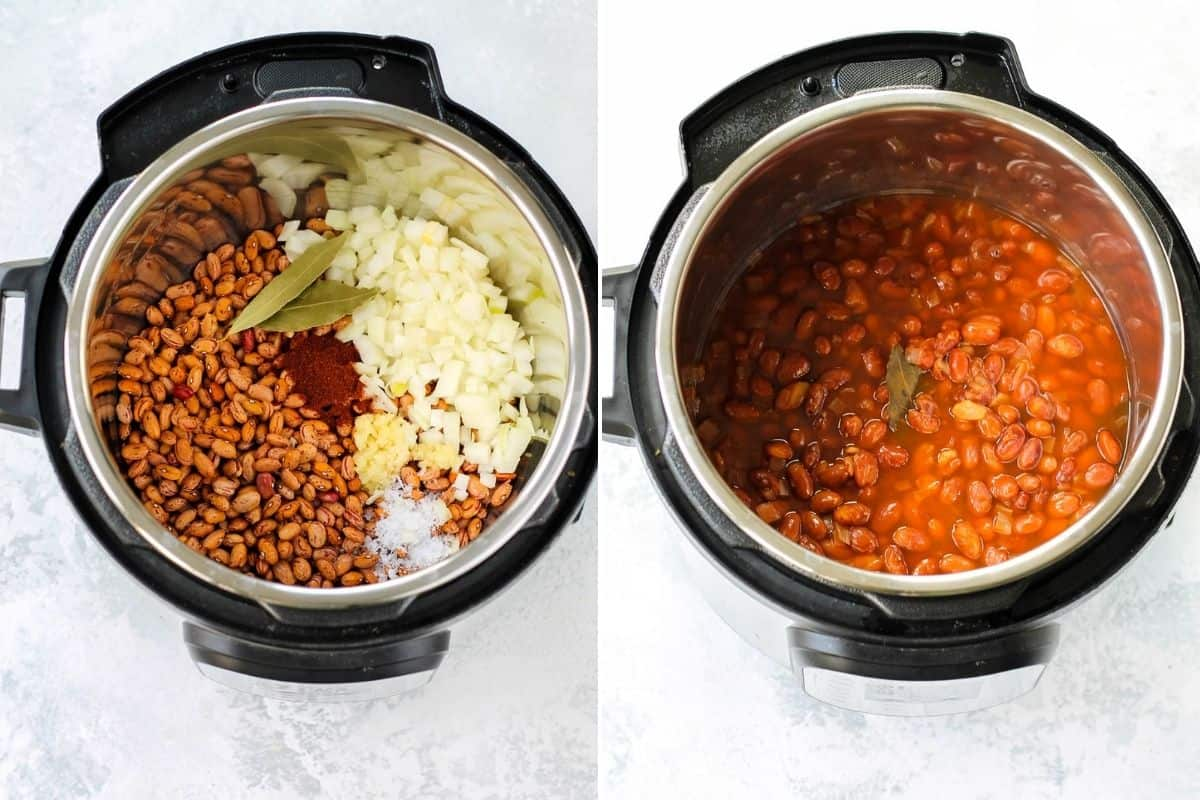 photo collage with cooked and uncooked pinto beans in the instant pot