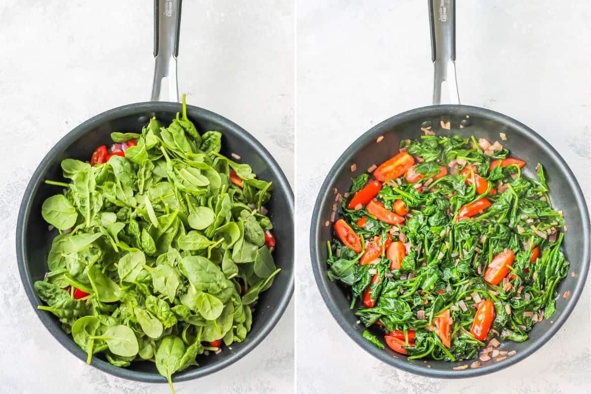 spinach and tomatoes being cooked in a frying pan