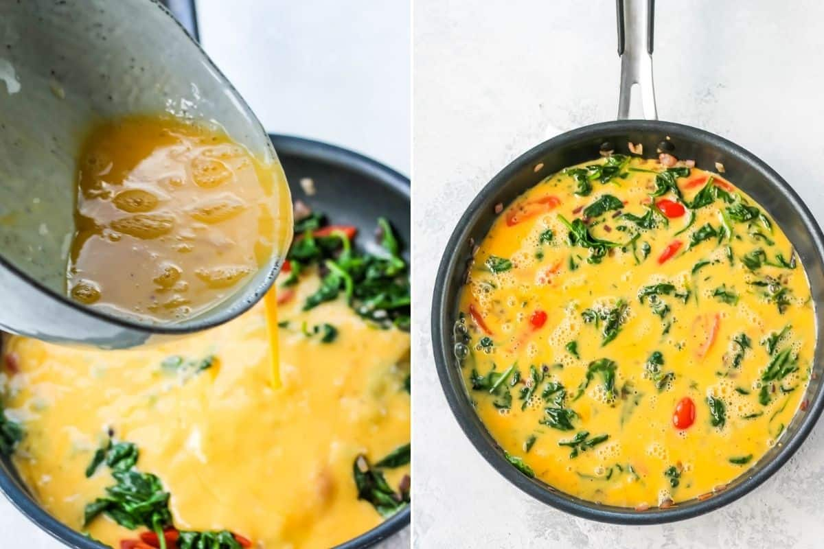eggs being poured into a pan to make a frittata