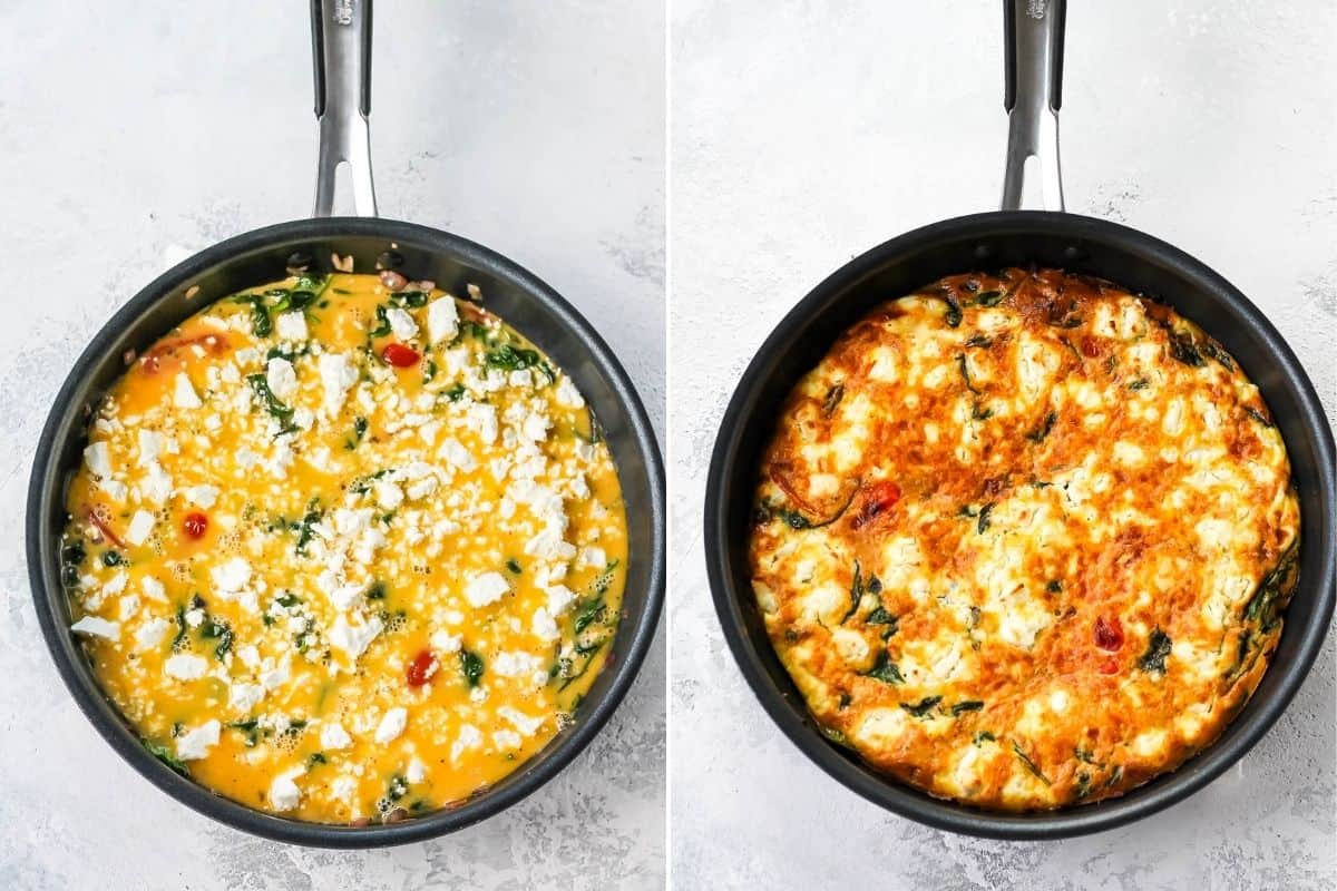 a vegetable frittata in a frying pan