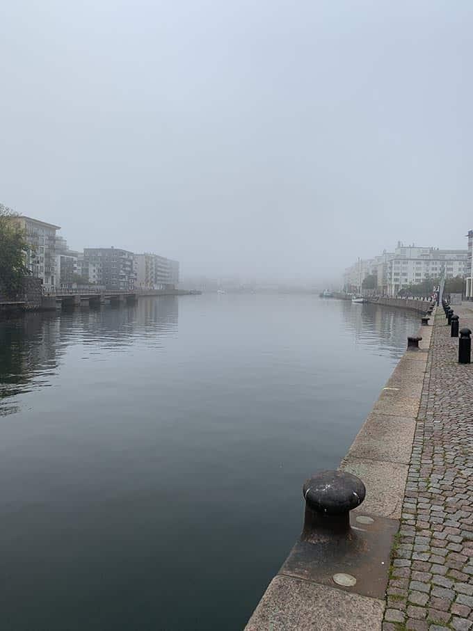 a foggy canal