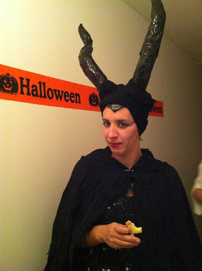 a woman in a Maleficent costume