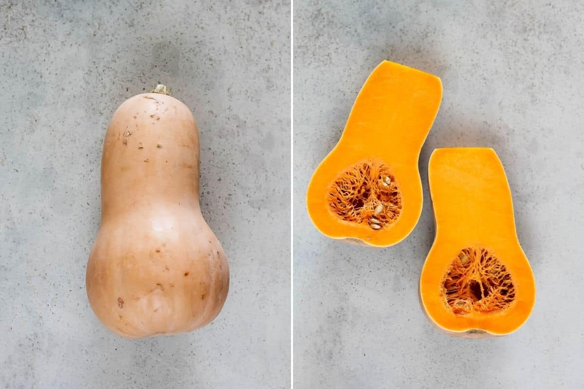a photo collage with whole and halved butternut squash on a grey background