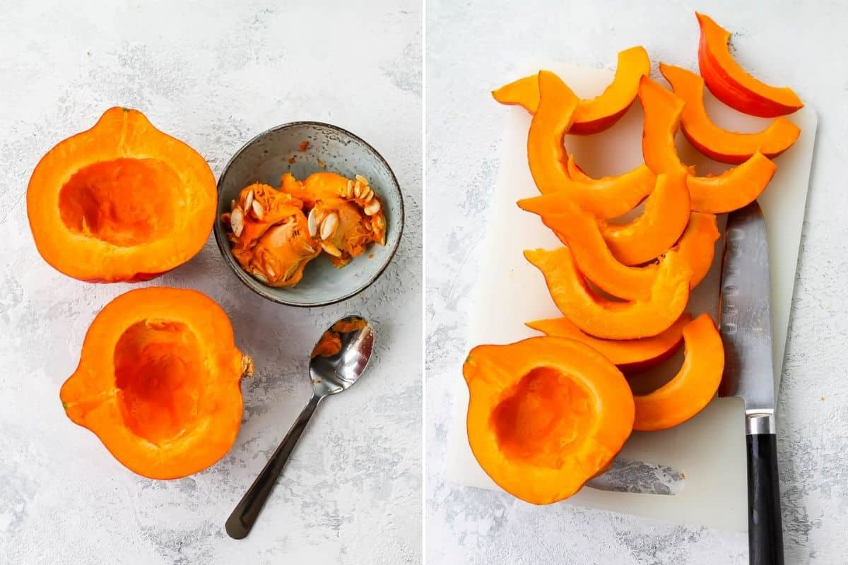 photo collage of hokkaido pumpkin being sliced into wedges