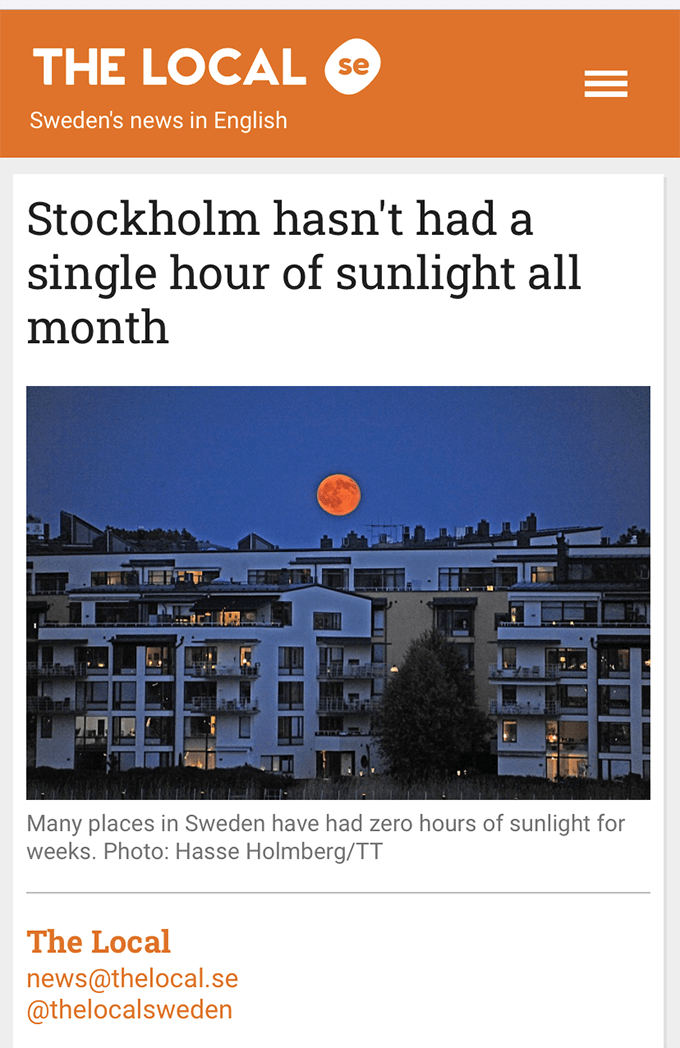 screen shot of a new site saying stockholm hasn't had a single hour of sunlight all month