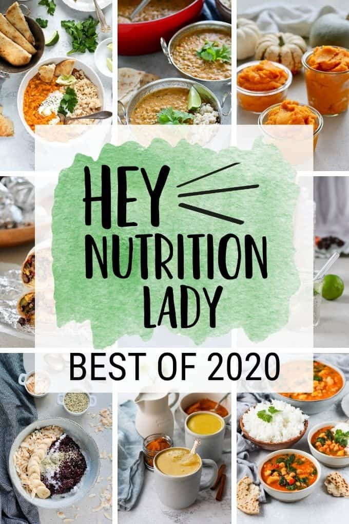 """a photo collage with text that reads """"hey nutrition lady best of 2020"""""""