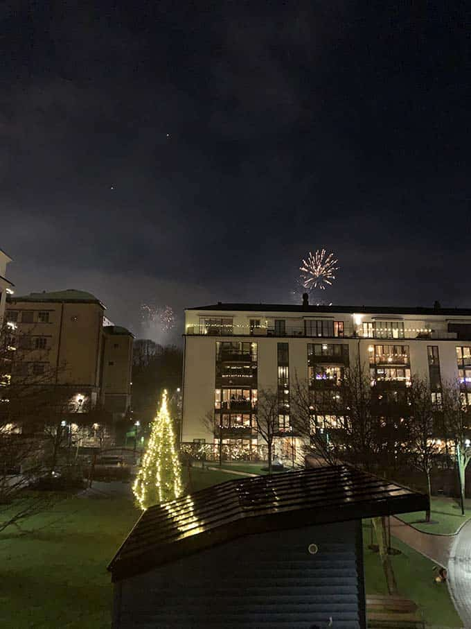 fireworks against a dark night sky