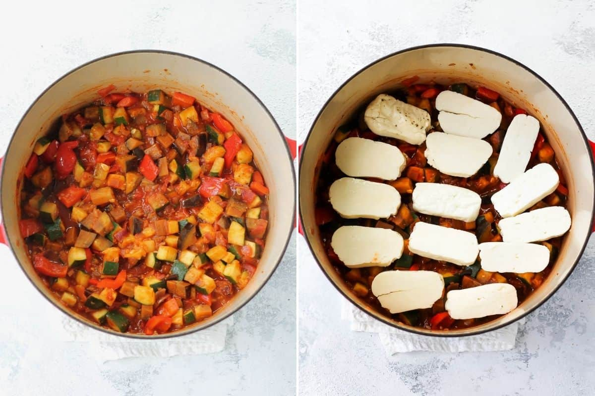 photo collage with vegetable ratatouille topped with sliced halloumi in a red dutch oven