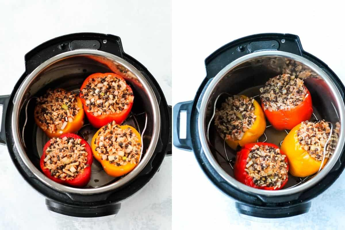 photo collage with uncooked stuffed peppers in an instant pot on the left, and cooked stuffed peppers on the right
