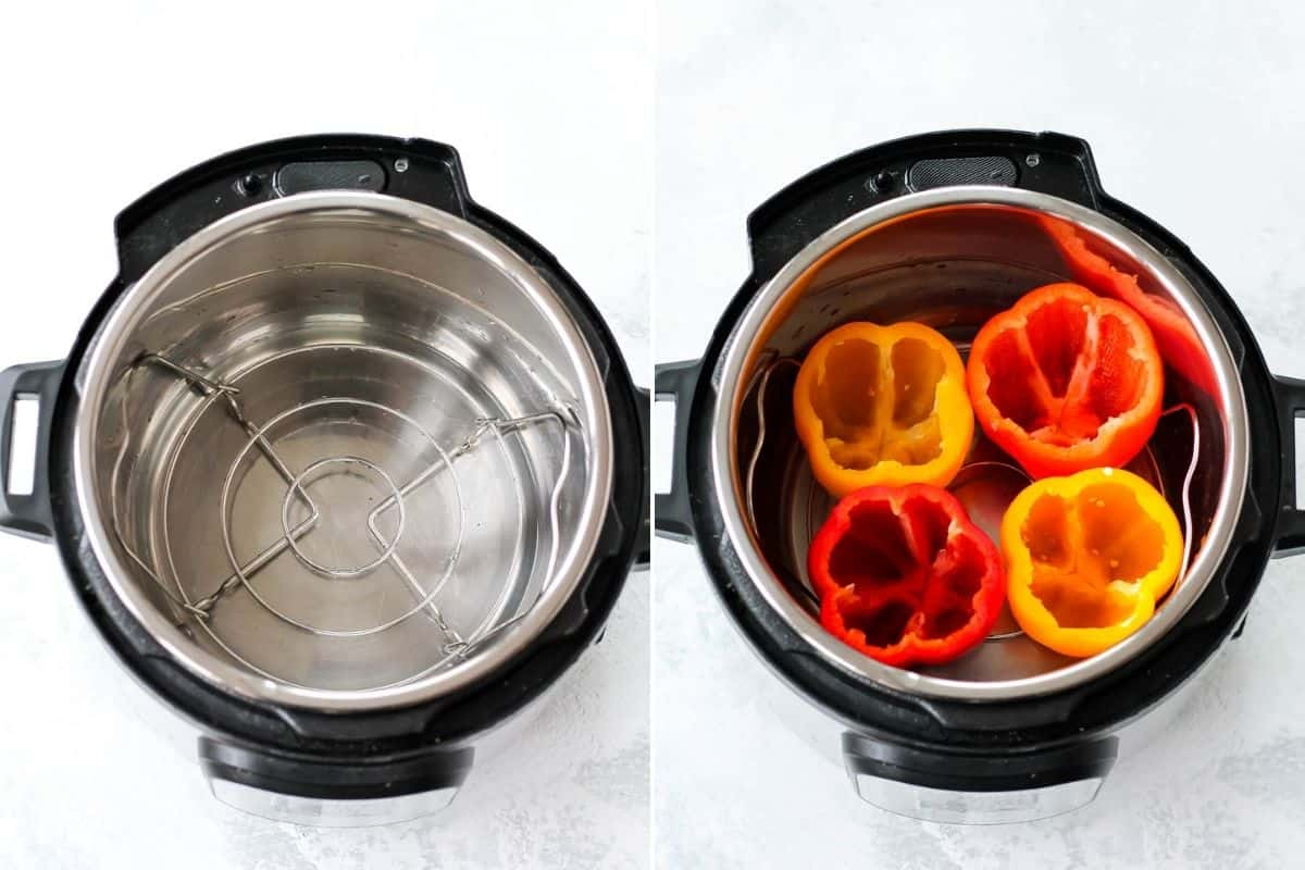 photo collage with an empty instant pot on the left and an instant pot with four bell peppers inside on the right