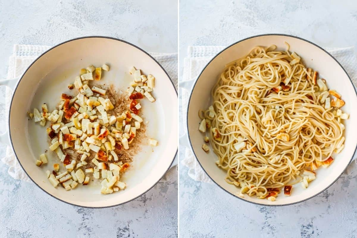 photo collage with browned halloumi in a white pan, with cooked spaghetti added in the second photo
