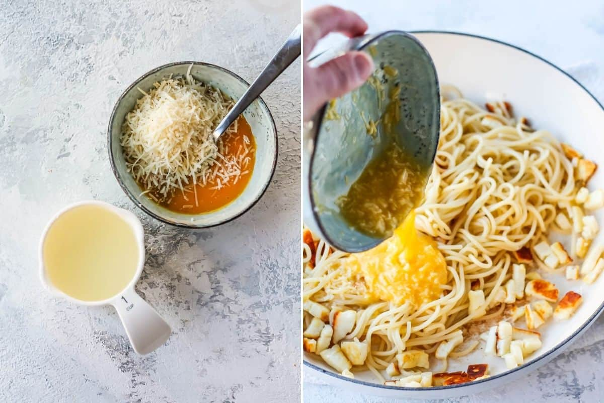 photo collage with egg yolks, parmesan, and pasta water on the left, and this mixture being poured into spaghetti on the right