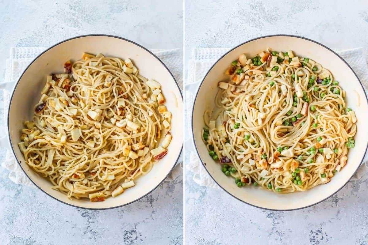 photo collage with vegetarian spaghetti carbonara with peas added to the second photo