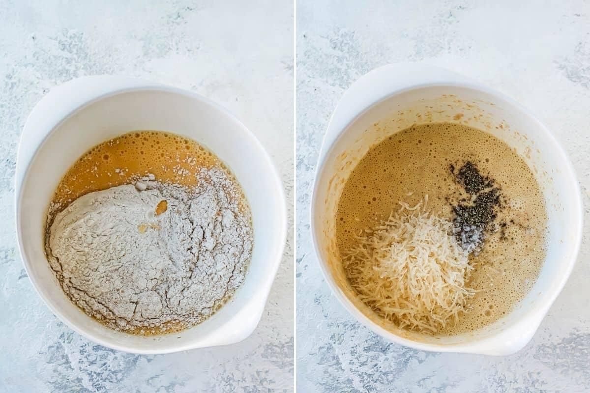 flour, parmesan, black pepper, and salt being mixed into savory pancake batter