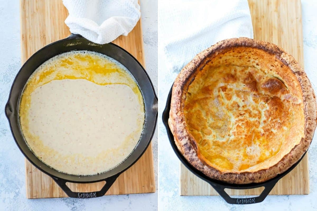 photo collage with an uncooked and cooked savory dutch baby pancake